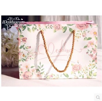 30Pcs PASAYIONE Luxury Wedding Gift Bags With Handles Rose Floral Printing Big Size Bag For Candy Favors For Guests Tablewares