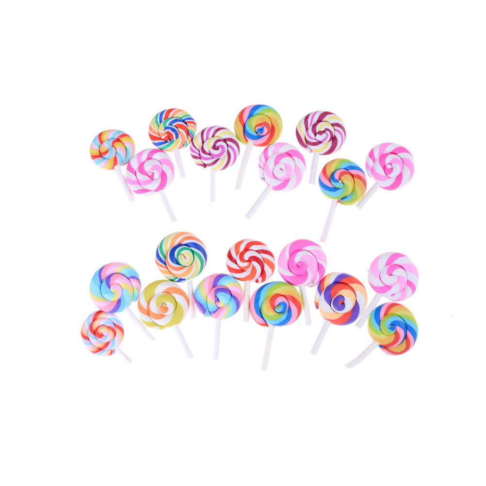 5Pcs Cute Polymer Clay Artificial Lollipop Simulation Food Rainbow Lollipop Candy DIY Home Decor Parts Clay Crafts