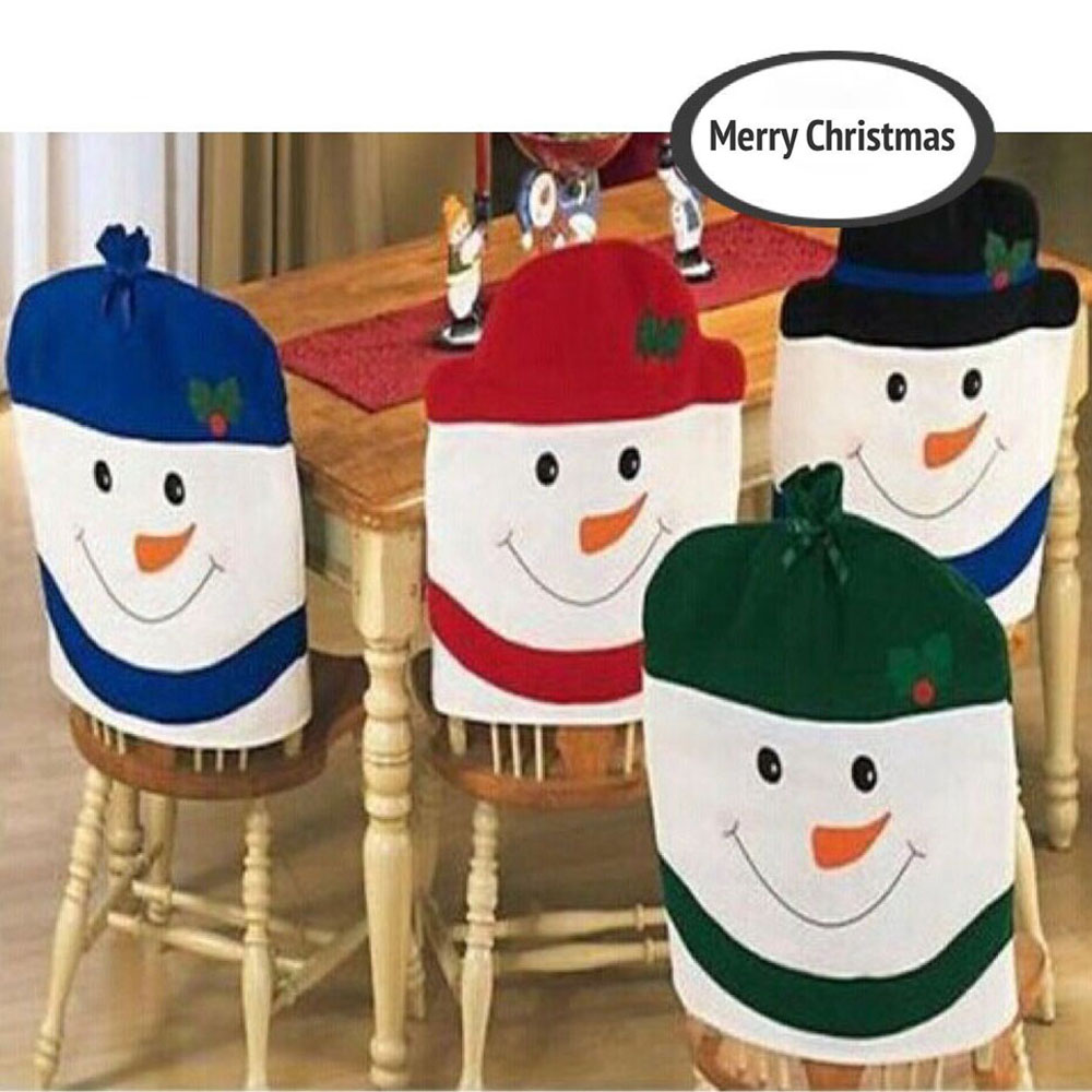 Christmas chair back covers - 4pcs Set New Christmas Chair Covers Cute Chair Back Covers Christmas Party Table Christmas Snowman