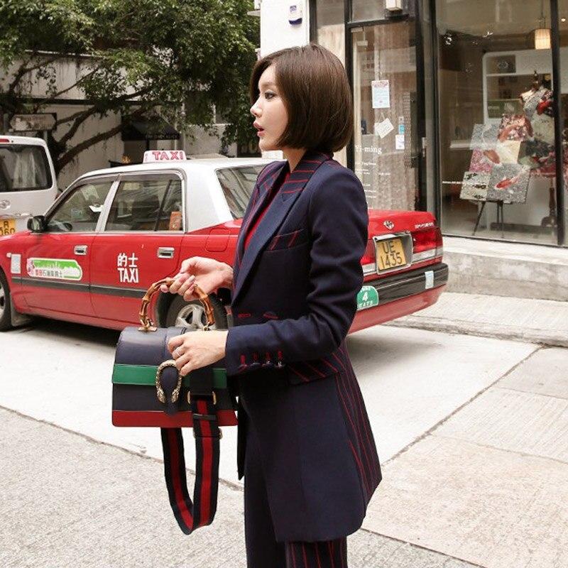 Picture Supérieure Moulant Pantalon Veste D265t Lady Costume Pour Pièce Rayé Blazer 2 Ol Office Femme Lacets Color Ensemble Patchwork Qualité À 2EHI9D