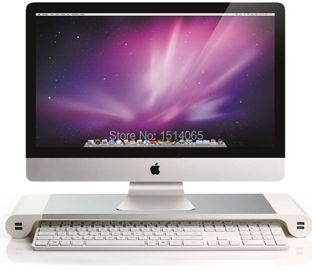 blanc premium aluminium moniteur stand avec 4 ports usb pour imac mac mini macbook pro air. Black Bedroom Furniture Sets. Home Design Ideas
