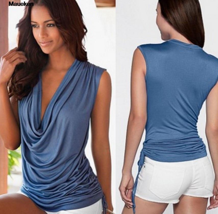 New Fashion 2018 Summer Blue Blouse Women Sleeveless Shirt Kawaii Y Tops Shirt Tops Sexy V-Neck Office Shirts