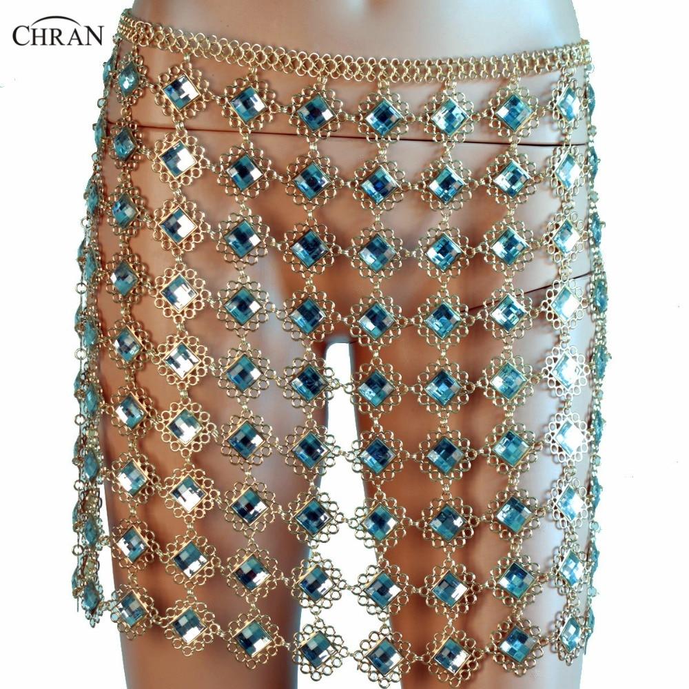 Chran Rhinestone Chain Skirt Exotic Lingerie Disco Partry Mini Dress Beach Cover Up Chain Necklace Bra Bralette Jewelry CRD286