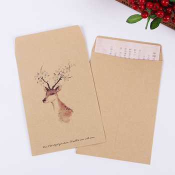 10 PCS Deer Paper Envelope 4 Designs Cute Mini Envelopes Vintage European Style for Card Scrapbooking Gift 1