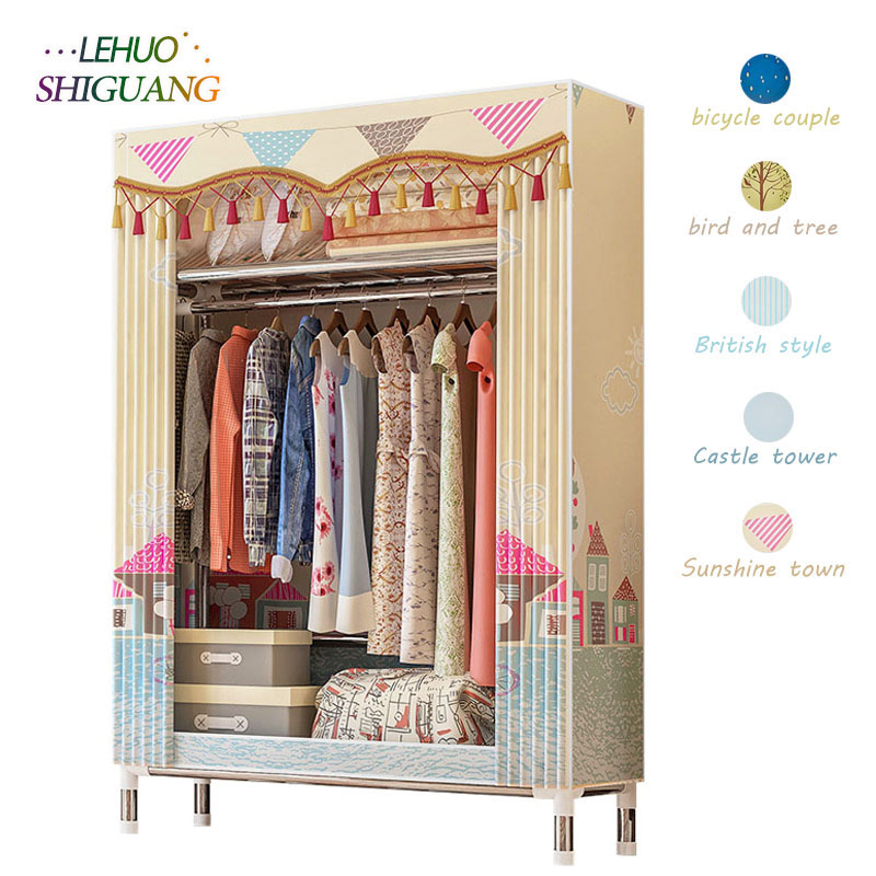 Cloth Wardrobe 25MM Steel Pipe Bold Reinforced Simple Wardrobe Twill Peach Skin Velvet Fully Enclosed Dustproof ClosetCloth Wardrobe 25MM Steel Pipe Bold Reinforced Simple Wardrobe Twill Peach Skin Velvet Fully Enclosed Dustproof Closet