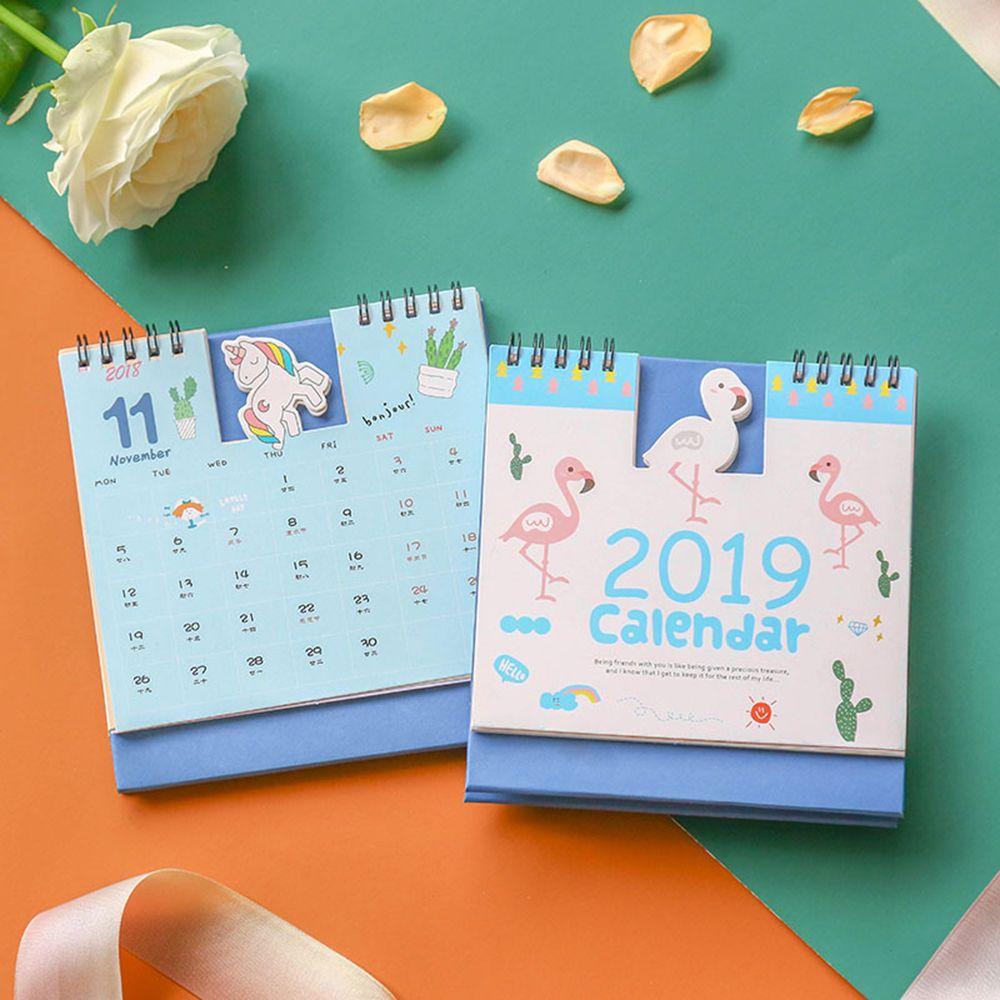 Office & School Supplies 2019 Schreibtisch Kalender Nette Einhorn Flamingo 2019 Planer Schreibtisch Kalender Liefert Büro Dekoration Organizer