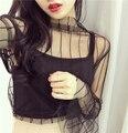 Medio cuello alto capa transparente de malla transparente mujeres de la camiseta tops negro flare manga camiseta femme camiseta feminina camisa