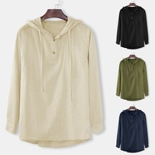 Mens Baggy Hooded Shirts Cotton Linen Solid Button Plus Size Long Sleeve Tops Capucha holgada