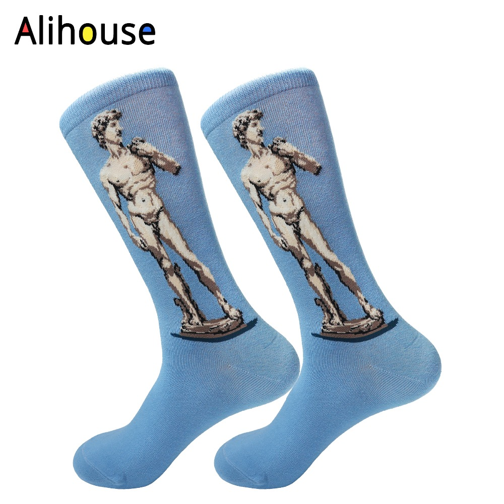 Alihouse Mens Colorful Funny Combed Cotton Socks Blue David Painting Casual Crew Brand Harajuku Happy Party Dress Crazy Socks