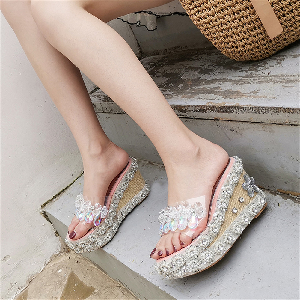 Fashion INS Hot Luxury Crystal Summer Sandals 2019 Ladies Wedges High Heels Shoes Woman Leisure Party SandalsFashion INS Hot Luxury Crystal Summer Sandals 2019 Ladies Wedges High Heels Shoes Woman Leisure Party Sandals