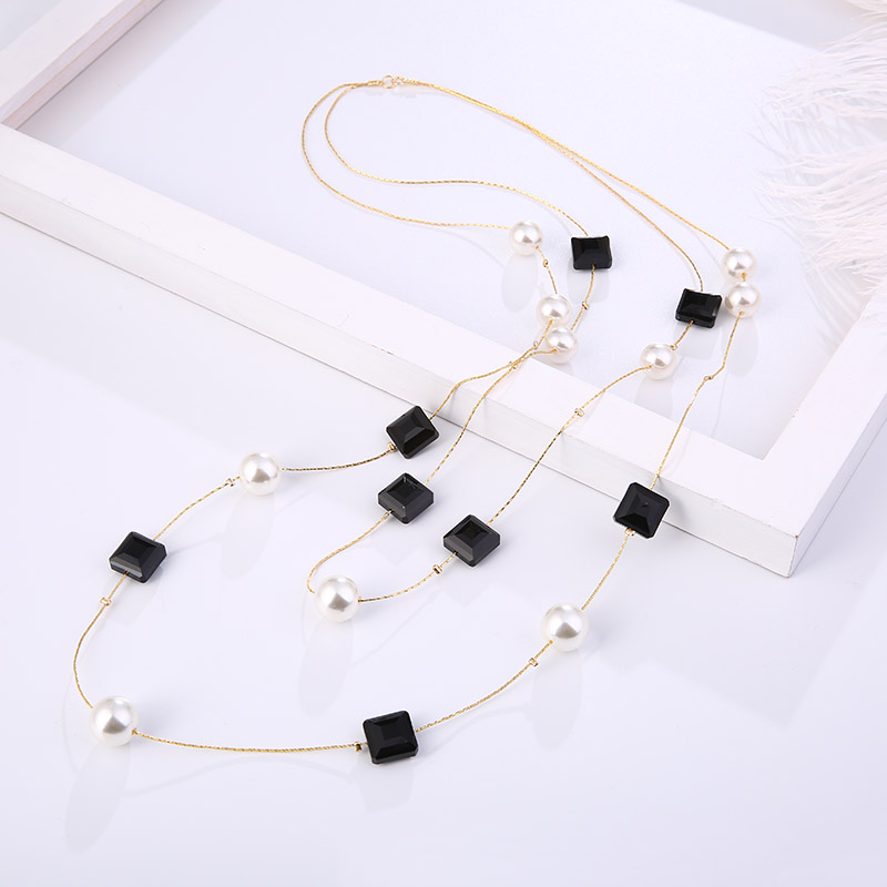 Korean Version Of The Classic Long Multi Layer Women 39 s Beaded Necklace Retro Simple Creative Geometric Pendant Party Hairpin in Chain Necklaces from Jewelry amp Accessories