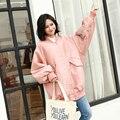 Корейская версия 2017 новая весна пальто девушки длинные свободные патч размер BF ветер бейсбол равномерное куртки