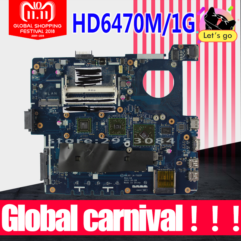 X53B Motherboard HD6470 For ASUS X53U K53B K53BY K53BR LA-7322P laptop Motherboard X53B Mainboard X53B Motherboard test 100% ok цена
