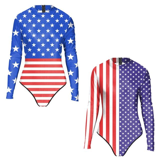 3b91c52fd5 Vintage American Flag Retro Women Long Sleeve Swimwear Rash Guard One Piece  Monokinis Stars Stripes USA Swimsuit Zipper Wear