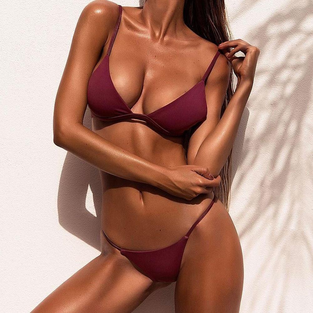 Women sexy charm Solid color Split bikini Open back Sling Push up Swimwear Summer swimming Sunbathing Swimsuit saida de praia slip-on shoe