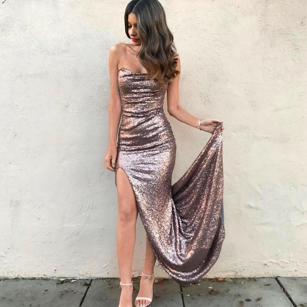 2019 Long   Prom     Dresses   Mermaid Sequined Strapless Side Split Celebrity Pageant Party Gown vestidos de gala
