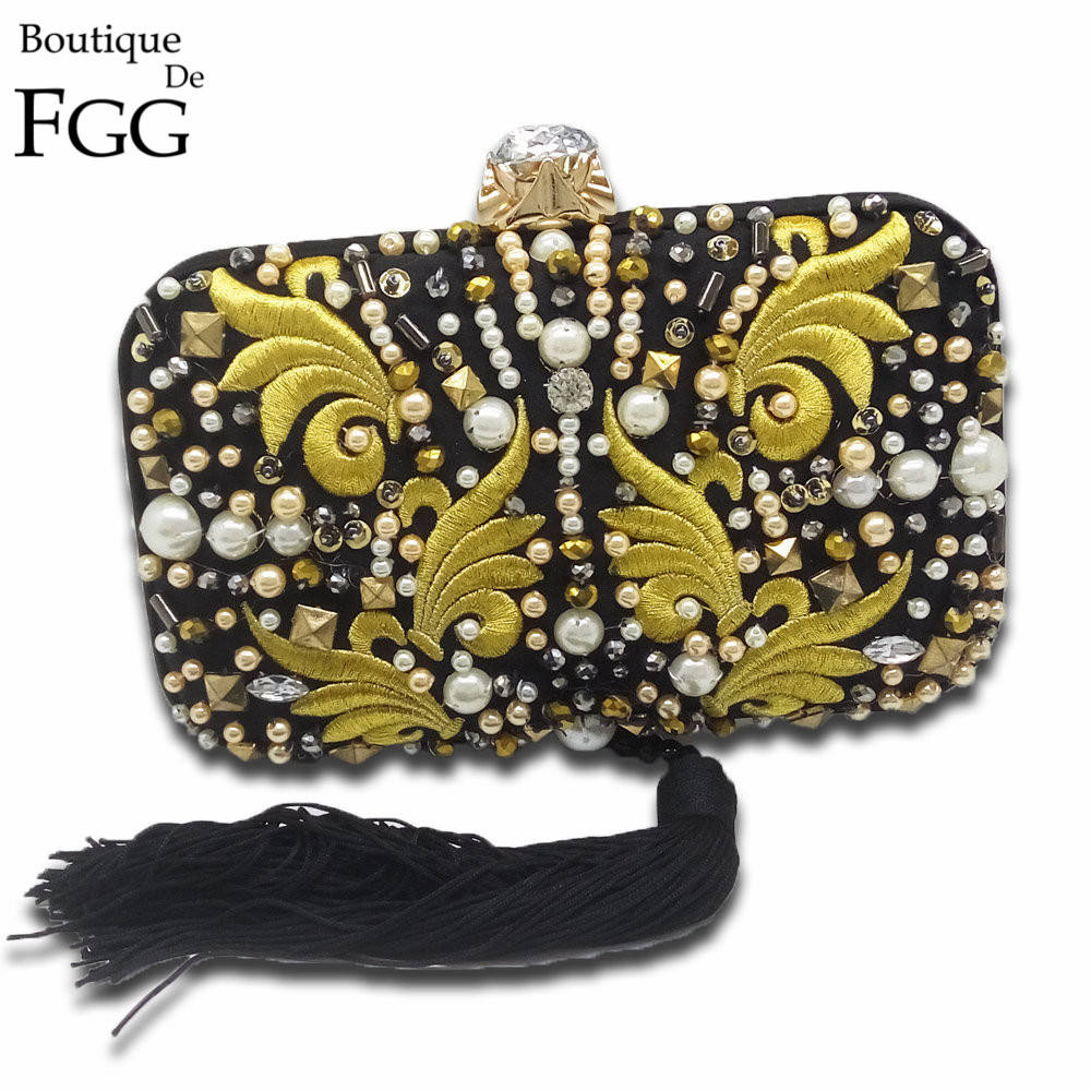 Famous Brand Beaded Rivets Embroidery Tassel Women Black Satin Evening Clutch Bags Ladies Wedding Metal Clutches Handbags Purses свитшот print bar я ёлка