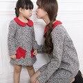 2016 Girls Dress Autumn Winter Mother Daughter Dresses Children Clothing Kids Girls Clothes Woollen lady Dress Vestido Age 3-6Y