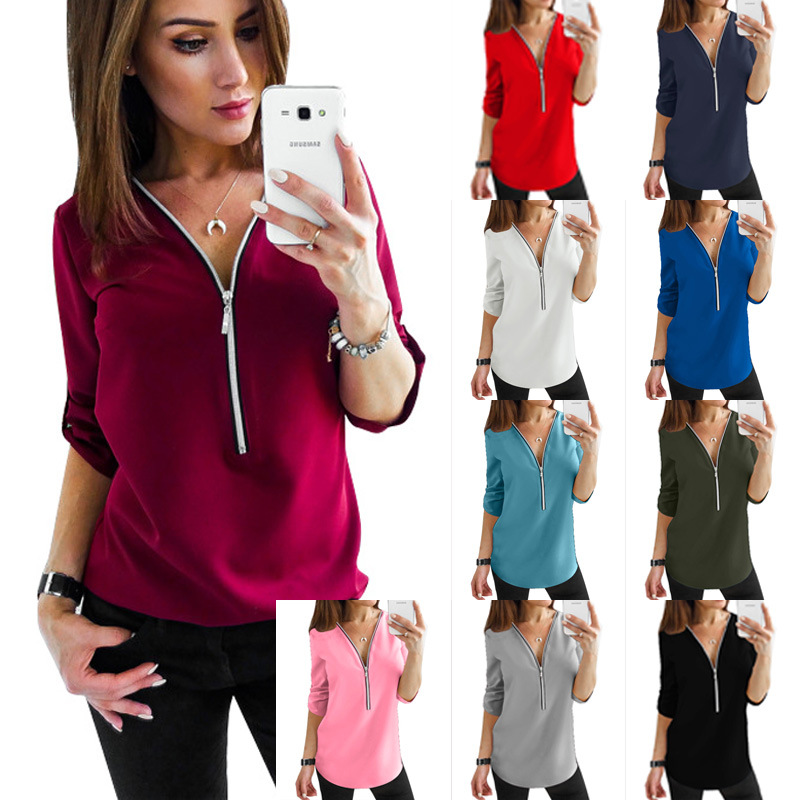 5XL Women Chiffon Blouse Top 2019 Deep V Neck Zipper Roll Up Long Sleeve blusas Summer Shirts Feminina Camisetas Plus Size in Blouses amp Shirts from Women 39 s Clothing