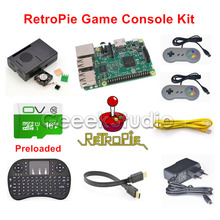 Wholesale Raspberry Pi 3 Model B 16GB RetroPie Game Console Kit with 2pcs SNES Gamepads with 5V 2.5A Optional EU/US/UK/AU Power Supply
