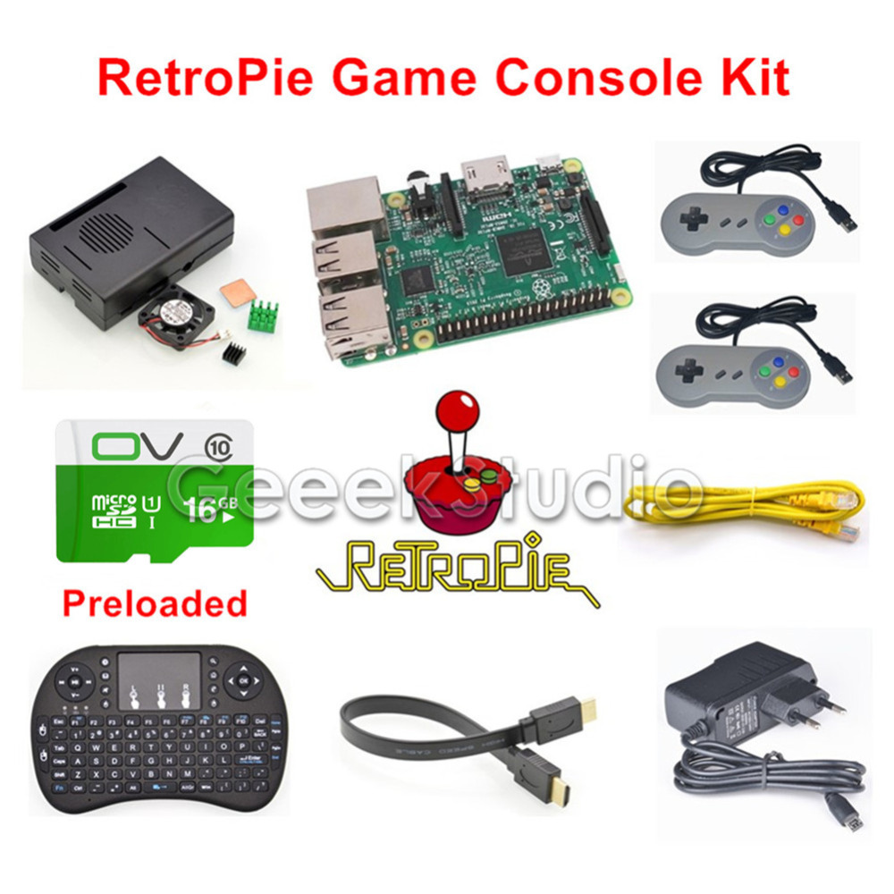 Raspberry Pi 3 Model B 16GB RetroPie Game Console Kit with 2pcs SNES Gamepads with 5V 2.5A Optional EU/US/UK/AU Power Supply jamma game console kit vertical screen shooting motherboard raiden v simulator shooting arcade game console kit for game machine