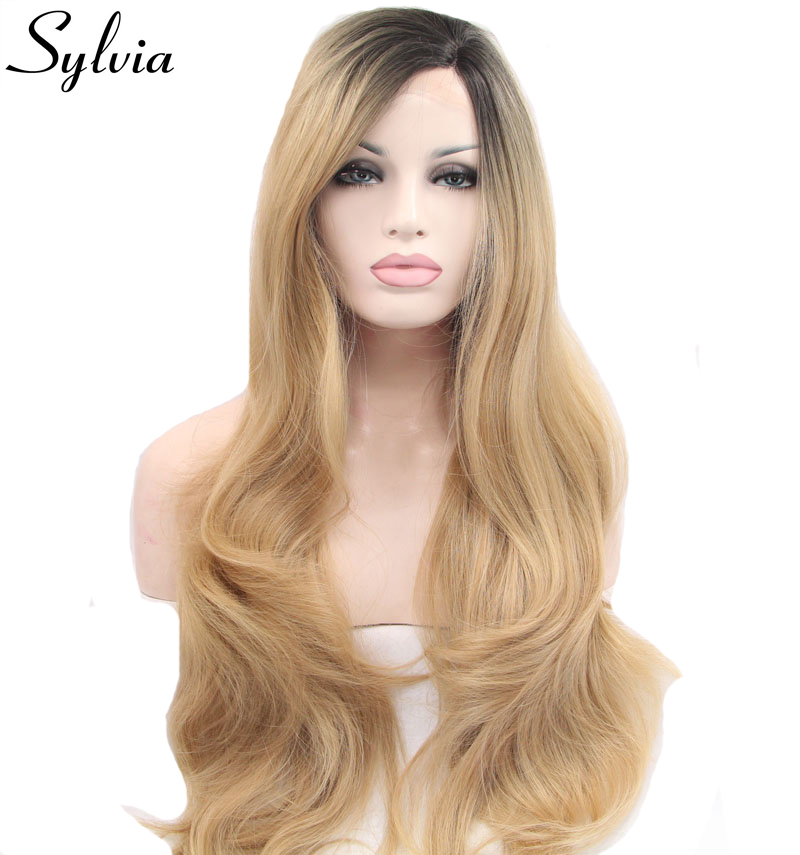 Sylvia mixed blonde ombre long body wave synthetic lace front wigs with dark roots natural blonde