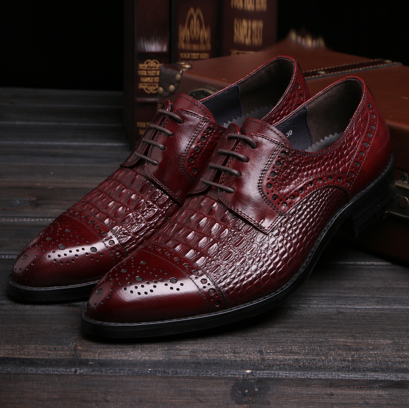 Crocodile Grain black / wine red oxfords shoes mens dress shoes genuine leather wedding shoes mens business shoes
