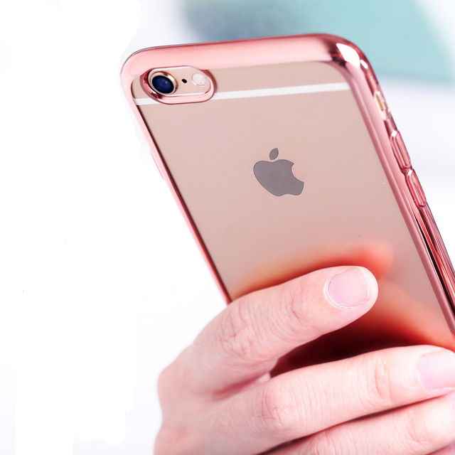 Luxury Rose Gold Frame Transparent Clear TPU Soft Case for iPhone 6 6S  Mobile Phone Cover Skin 4.7 inch 99d3ad4423cb