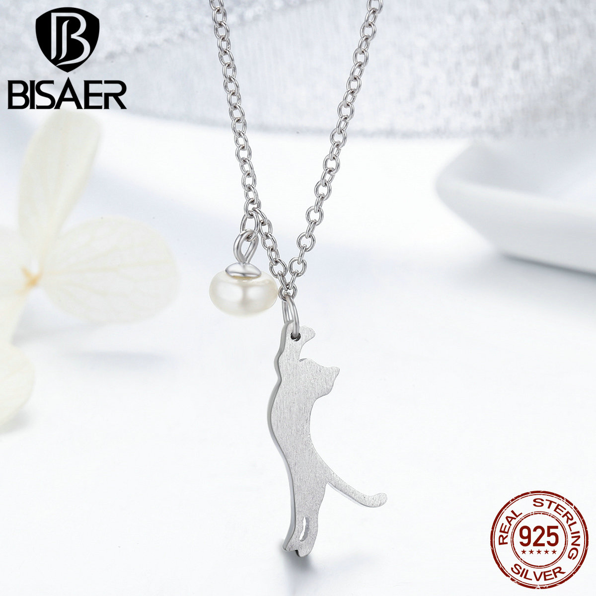 100% 925 Sterling Silver Playful Kitten, My Lovely Pet Cat Pendants & Necklaces Chains Link Women Femme Collar Fine Jewelry