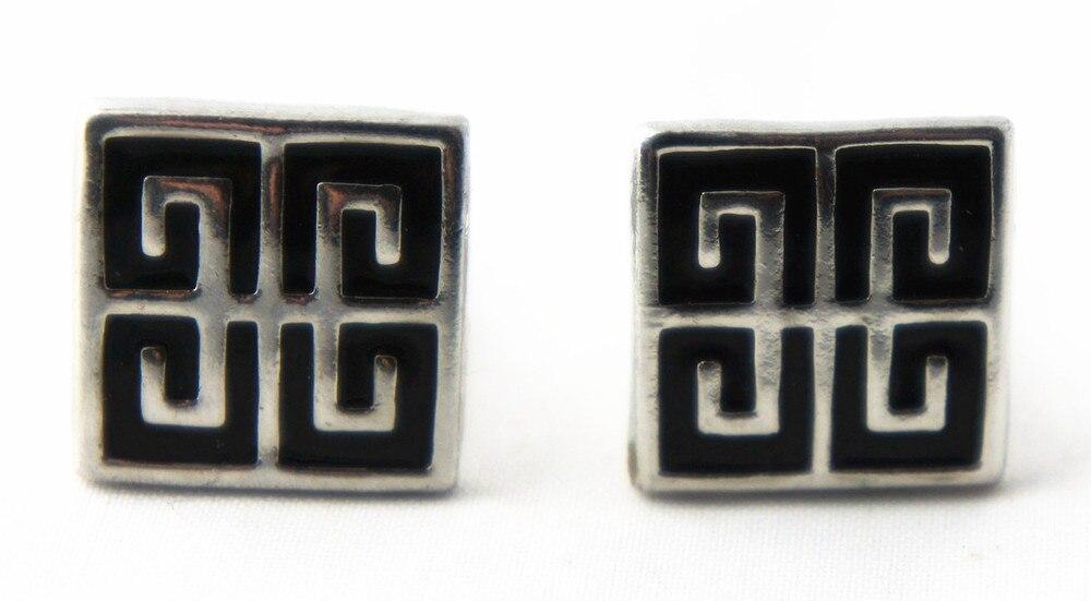 D185 Newest Black Enamel Metal Cufflinks For Men Men Jewelry