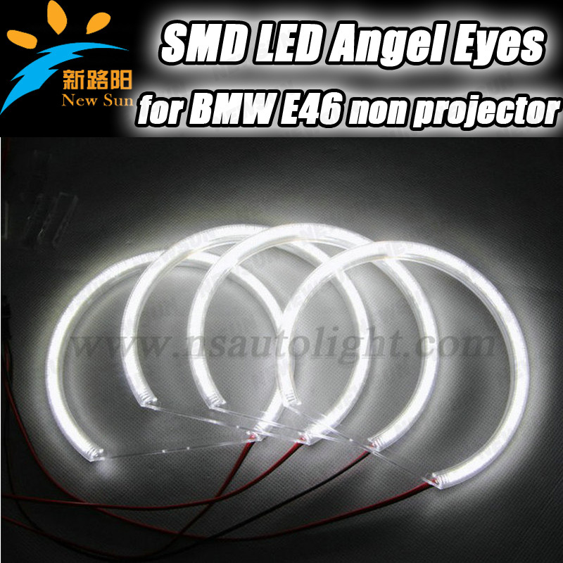 For BMW e46 non-projector car accessories 3014 SMD led angel eyes ring kit auto headlight 131mm&145mm smd ring led rings white 3014 smd led angel eyes headlight halo ring marker 131mm 145mm for bmw e46 non projector