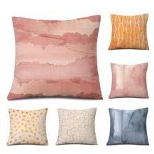 Texture Geometric Pillowcase Nordic Simple Bed Sofa Pillow Cushion Printed Square Linen Comfortable Skin B-130