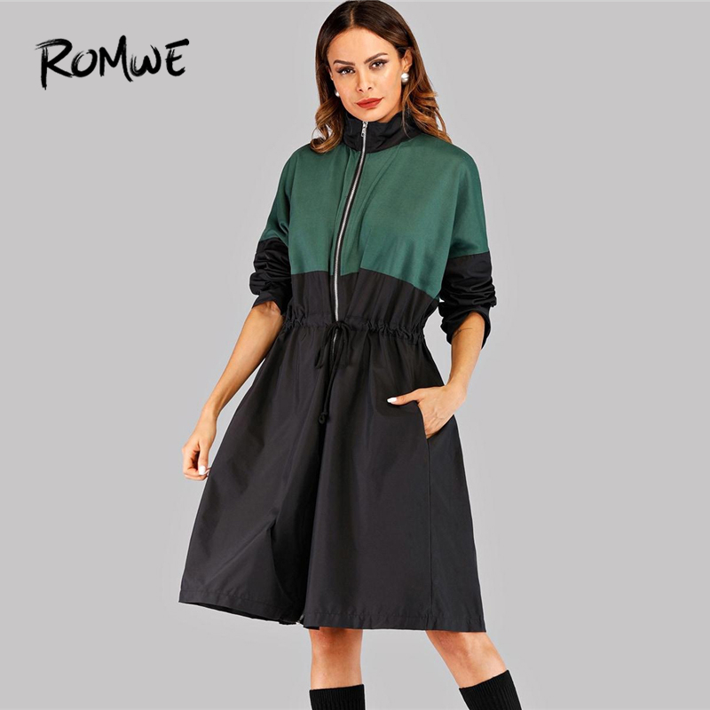 ROMWE Patchwork Drawstring Waist Zip Up Women   Trench   Coat Fashion Clothes Autumn Casual High Neck Knee Length Outerwear