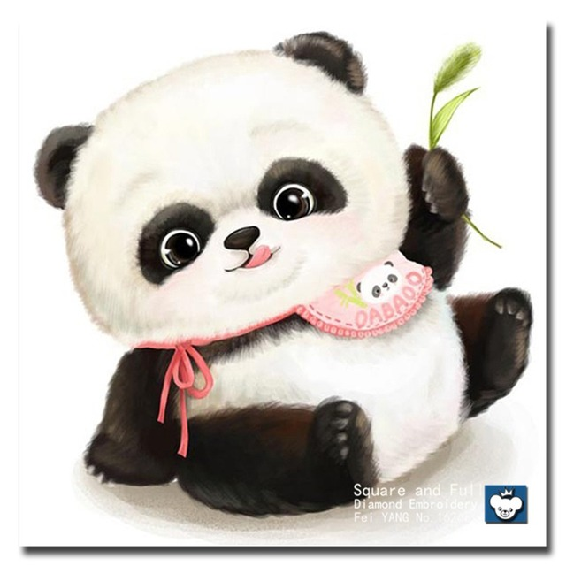 Icono lindo Panda dibujos animados foto diamante Bordado costura ...
