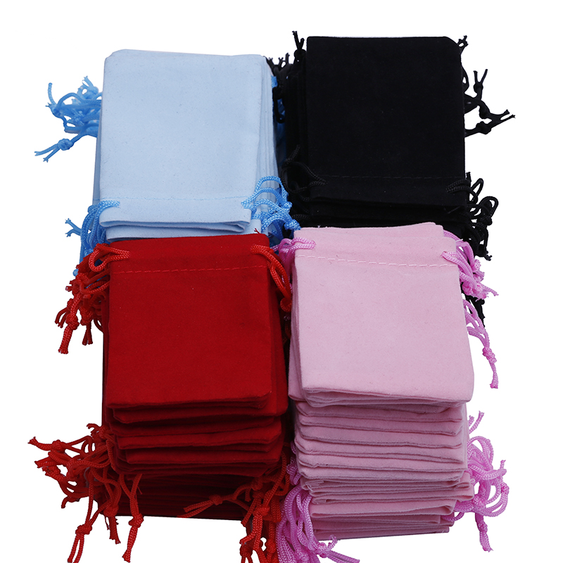 Free Shipping 200pcs 7x9cm Velvet Drawstring Pouch Bag/jewelry Bag,christmas/wedding Gift Bag Black/red/Pink/blue