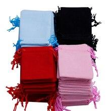 200 шт 7x9 см Бархатный мешочек сумка со шнурками/Ювелирная сумка, рождественский/свадебный подарочный мешок черный/красный/розовый/синий