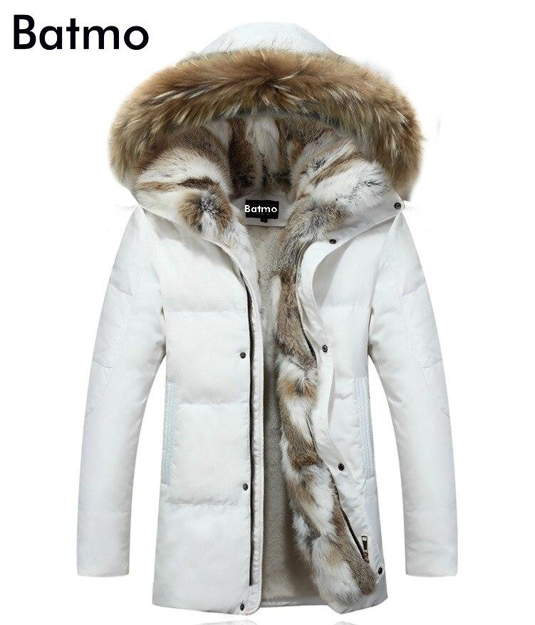 Batmo 2018 winter white duck   down   jacket men   coat   parkas warm Liner male Warm Clothes Rabbit fur collar High Quality,PLUS-SIZE