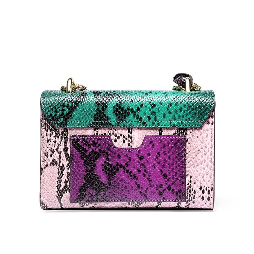 Genuine Leather Women Crossbody Bag Serpentine Panelled Small Shoulder Bag Fashion Luxury Design Messenger Bag Chains Women Bags