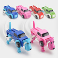 4 Clolor 14CM Cool Automatic Clockwork Vehicle Transform Car Dog  Deformation Wind Up Toy 2016 New Arrival Cute Christmas Gift