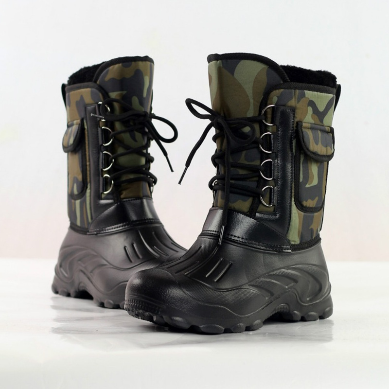 Man Waterproof Non-slip Faux Fur Winter Snow Boots Mid-Calf Work Shoes Outdoor Waterproof Fishing Boots Men Skiing Shoes