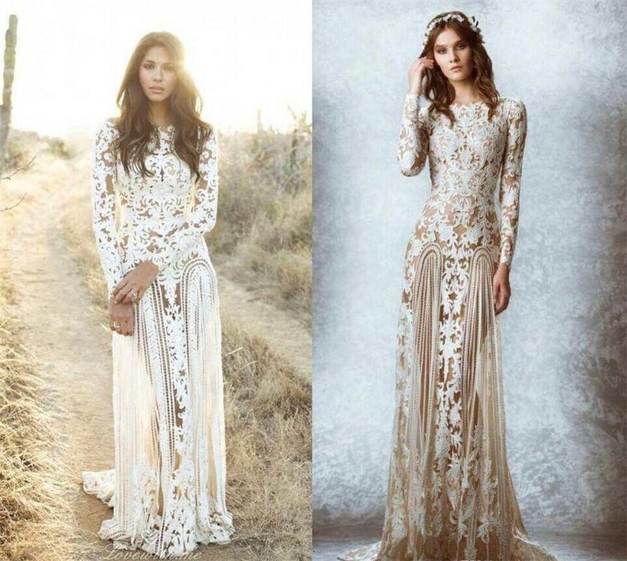 Elegant Scoop Lace A Line Wedding Dress Regular Long Sleeves Floor