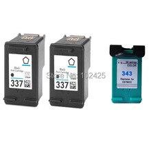 купить 2 Black + 1 Colour Remanufactured Printer Ink Cartridges for HP PS C4180 337/343 по цене 1416.6 рублей