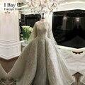 3D Embroidery Hand Made Цветочный Свадебное Платье Арабский Девушка Бусы Кристалл Царский Поезд Свадебные Платья 2017 Особый Размер Роскошный Стиль