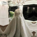 3D Embroidery Hand Made Flower Bridal Gown Arabic Girl Beads Crystal Royal Train Wedding Dresses 2017 Custom Size Luxury Style