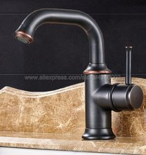 где купить Black Oil Rubbed Bronze Single Hole / Handle Deck Mount Bathroom Sink Vessel Faucet Basin Mixer Tap Knf267 по лучшей цене