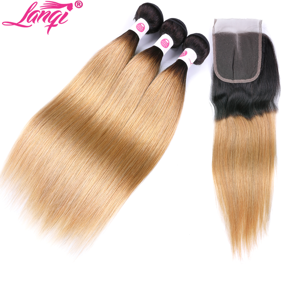 Peruvian Straight Hair With Closure Lanqi 1b/27 Blonde Bundles With Closure Ombre Human Hair Weave 3 Bundles With Lace Closure