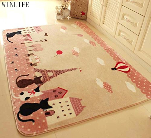 WINLIFE Three Cats Rugs And Carpets For Home Living Room Cartoon Tower Kids Bedroom Floor Mat