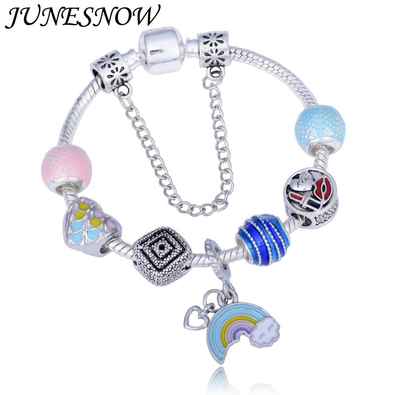 Us 3 54 25 Off Junesnow Vintage Diy Crystal Gl Beads Charms Bracelets For Women Rainbow Of Love Pendant Brand Pulsera Jewelry In Charm