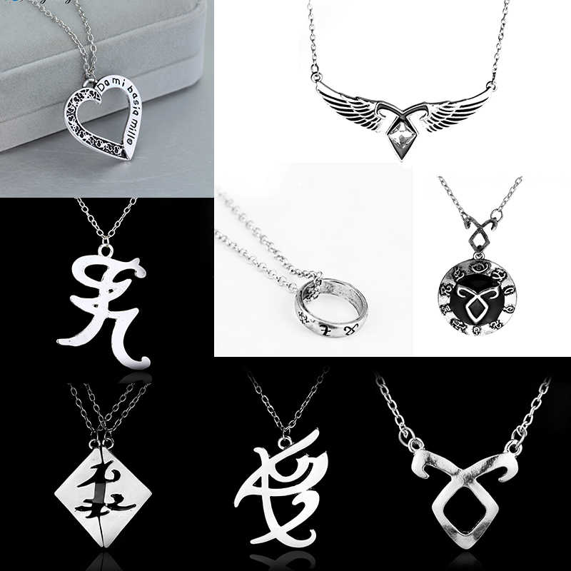 dongsheng The Mortal Instruments City of Bones necklace vintage Angelic Power Runes Shadowhunters pendant men and women Gift -30