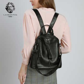 LAORENTOU Brand Genuine Leather Female Original Travel School Bag Women Soft Fashion Mochilas Girl\'s High Quality Backpack